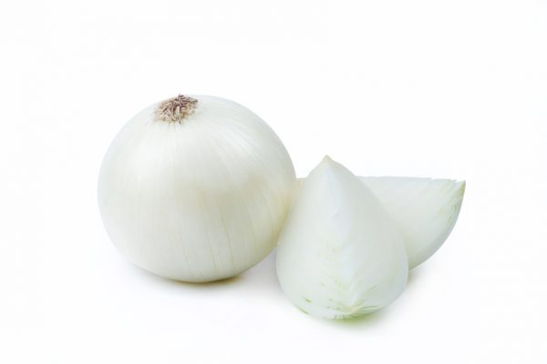 One White Onion and Sliced Pieces – Clipping Path Inside
