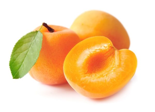 Sweet apricots with leafs