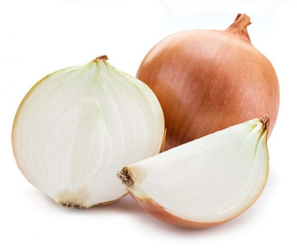 Half of onion isolated on a white background.