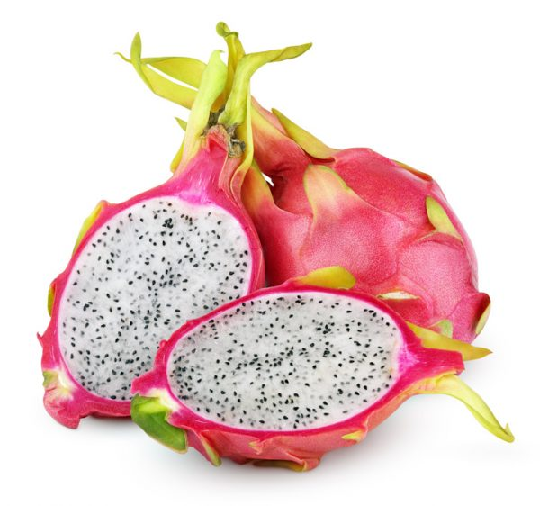 Dragon fruit or pitaya with cut isolated on white